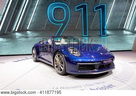 Geneva, Switzerland - March 5, 2019: Porsche 911 Carrera S Cabriolet Sports Car Debut At The 89th Ge
