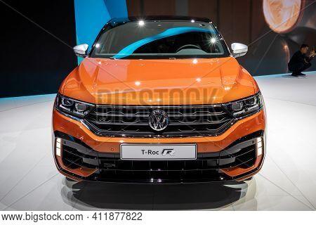 Geneva, Switzerland - March 6, 2019: Volkswagen T-cross R-line Car Showcased At The 89th Geneva Inte