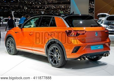 Volkswagen T-roc R-line Car At The 89th Geneva International Motor Show. Geneva, Switzerland - March