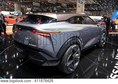 Geneva, Switzerland - March 6, 2019: Nissan Imq Hybrid Crossover Concept Car Debut Showcased At The