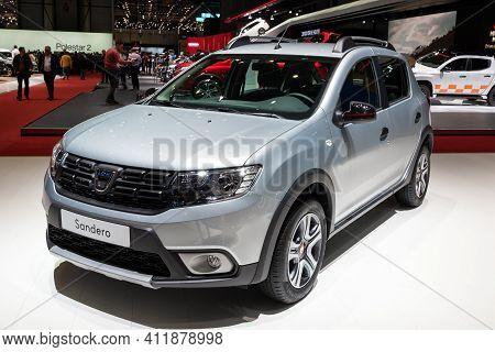 Geneva, Switzerland - March 6, 2019: Dacia Sandero Car Showcased At The 89th Geneva International Mo