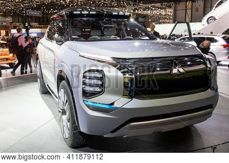 Geneva, Switzerland - March 6, 2019: Mitsubishi Engelberg Tourer Concept Car Debuts At The 89th Gene