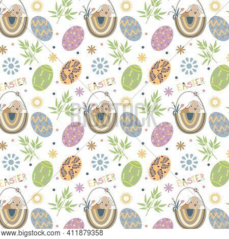 Handmade Easter Bunny Seamless Pattern Background. Abstract Eggs Pattern For Card, Invitation, Wallp