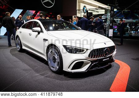 Geneva, Switzerland - March 6, 2019: Mercedes-amg Gt 4-door Coupe Sports Car Showcased At The 89th G