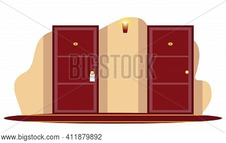 Vector Closed Wooden Numbered Hotel Room Door In Hallway With Hanged Burning Glowing Light Bulb On W