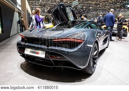 Geneva, Switzerland - March 6, 2019: Mclaren 720s Spyder Sports Car Showcased At The 89th Geneva Int