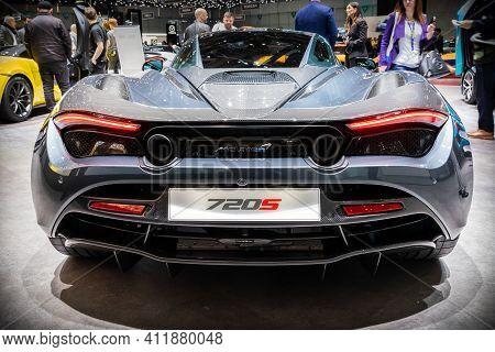 Geneva, Switzerland - March 6, 2019: Mclaren 720s Spyder Sports Car Presented At The 89th Geneva Int