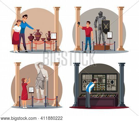 Visitor At Ancient, Antique, Medieval History Museum People Scene Isolated Set. Vector Man And Woman