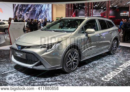 Geneva, Switzerland - March 6, 2019: Toyota Corolla Trek Hybrid Car Showcased At The 89th Geneva Int