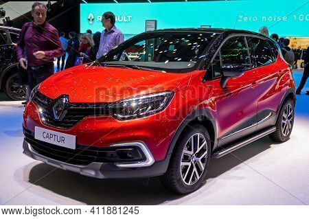 New Renault Captur Car At The 89th Geneva International Motor Show. Geneva, Switzerland - March 6, 2
