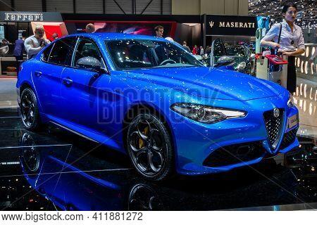 Alfa Romeo Giulia Luxury Sport Sedan Car At The 89th Geneva International Motor Show. Geneva, Switze