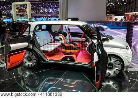 Fiat Centoventi Electric Concept Car At The 89th Geneva International Motor Show. Geneva, Switzerlan