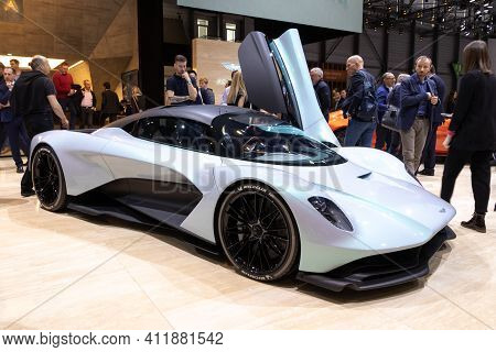 Geneva, Switzerland - March 6, 2019: Aston Martin Am-rb 003 Sports Car Reveiled At The 89th Geneva I