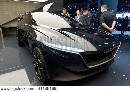 Geneva, Switzerland - March 6, 2019: All-electric Aston Martin Lagonda All-terrain Concept Car Showc
