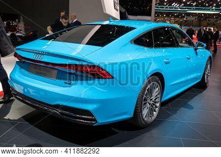 Geneva, Switzerland - March 5, 2019: Audi A7 Quattro Car Showcased At The 89th Geneva International