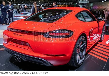 Porsche 718 Cayman T Sports Car At The 89th Geneva International Motor Show. Geneva, Switzerland - M