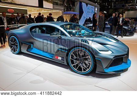 Bugatti Divo Hypercar At The 89th Geneva International Motor Show. Geneva, Switzerland - March 6, 20