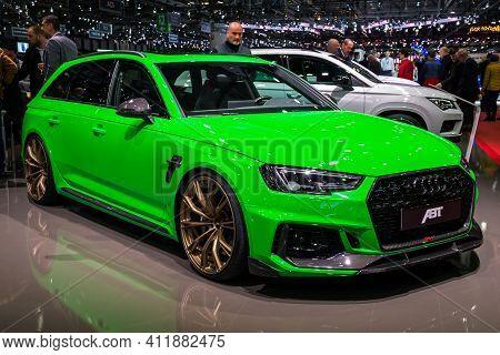 Abt Audi Rs4 B9 Custom Car At The 89th Geneva International Motor Show. Geneva, Switzerland - March