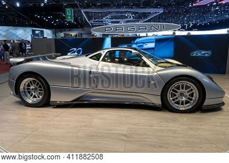 Geneva, Switzerland - March 6, 2019: Pagani Zonda C12 Sports Car Showcased At The 89th Geneva Intern