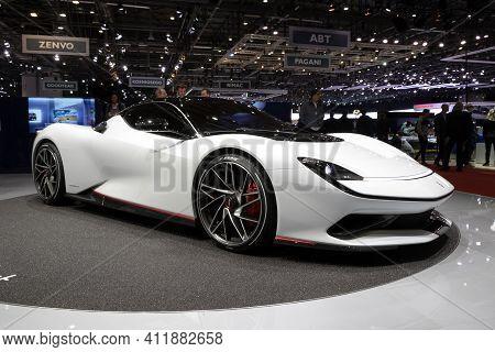 Geneva, Switzerland - March 6, 2019: Pininfarina Battista Hyper Ev Sports Car Reveiled At The 89th G