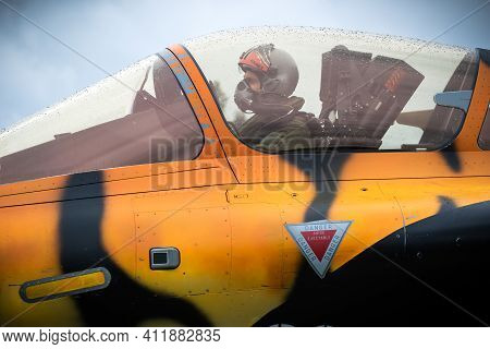 Mont-de-marsan, France - May 17, 2019: Pilot In The Cockpit Of A Special Painted Dassault Rafale Fig