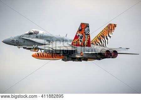 Mont-de-marsan, France - May 17, 2019: Special Painted Spanish Air Force Boeing F/a-18 Hornet Fighte