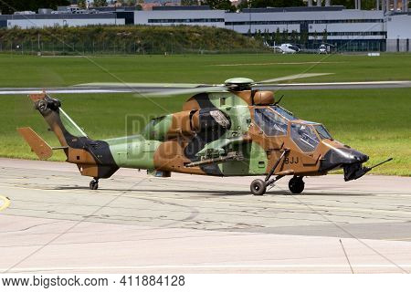 Le Bourget Paris - Jun 21, 2019: French Army Eurocopter Airbus Ec-665 Tiger Attack Helicopter At The
