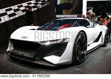 Frankfurt, Germany - Sep 10, 2019: Audi Pb 18 E-tron Electric Supercar Concept Showcased At The Fran
