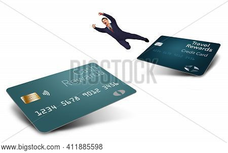 A Man In A Suit Makes The Big Leap From One Type Of Rewards Credit Card To Another In This 3-d Illus