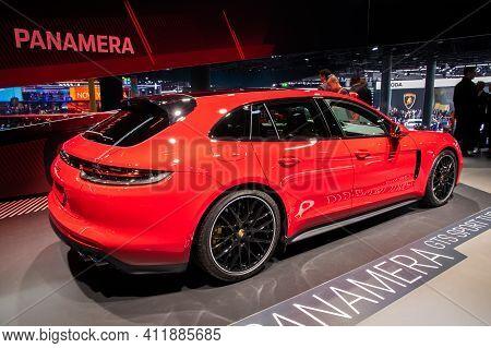 Frankfurt, Germany - Sep 10, 2019: Porsche Panamera Gts Sport Turismo Sports Car Showcased At The Fr