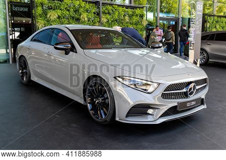 Frankfurt, Germany - Sep 10, 2019: New 2020 Mercedes Benz Cls 220 D Coupe Car Showcased At The Frank