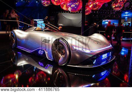 Frankfurt, Germany - Sep 10, 2019: Mercedes Benz Concept Eq Silver Arrow Electric Intelligence Car S