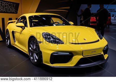 Frankfurt, Germany - Sep 10, 2019: Porsche 718 Cayman Gt4 Sports Car Showcased At The Frankfurt Iaa