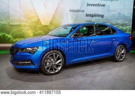 Frankfurt, Germany - Sep 10, 2019: New Skoda Superb Iv Car Reveiled At The Frankfurt Iaa Motor Show