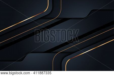 Modern Background With Dark Navy Color And Golden Lines Combination. Abstract Tech Background Design