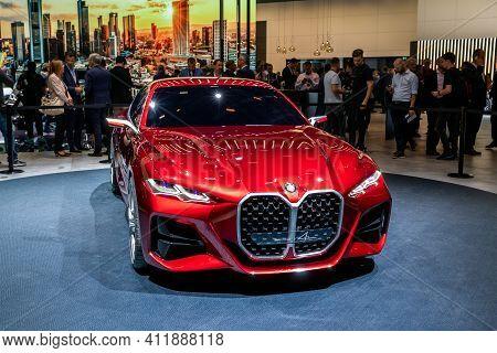 Frankfurt, Germany - Sep 10, 2019: Bmw Concept 4 Coupe Car Debut At The Frankfurt Iaa Motor Show 201