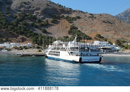 Crete, Greece - May 21, 2014: People Ride Anendyk Ferries Passenger Ferry Connecting Agia Roumeli In