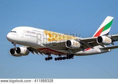 Frankfurt, Germany - Sep 11, 2019: Emirates Airlines Airbus A380 Passenger Airliner On Frankfurt Air