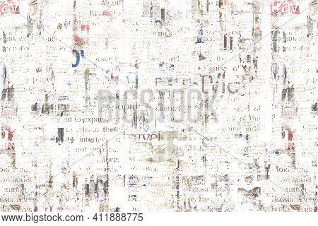 Newspaper Paper Grunge Aged Newsprint Pattern Background. Vintage Old Newspapers Template Texture. U