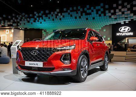 Frankfurt, Germany - Sep 11, 2019: New 2020 Hyundai Santa Fe Car Showcased At The Frankfurt Iaa Moto