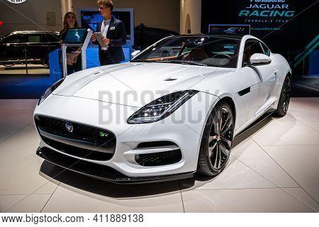 Frankfurt, Germany - Sep 11, 2019: Jaguar F-type R Sports Car Model Showcased At The Frankfurt Iaa M