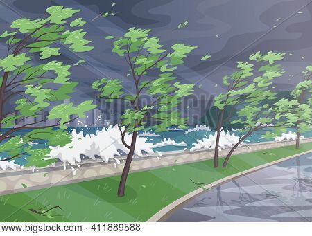Seaside Landscape With Storm In Ocean, Huge Waves And Trees On High Wind Along Coast. Natural Disast