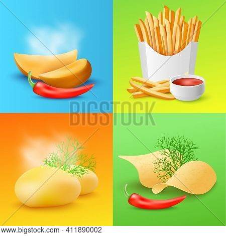 Cards With Various Fried And Cooked Potato Realistic Vector Illustration.