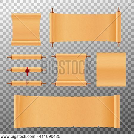 Parchment Or Papyrus Scrolls Set, Realistic Mockup Vector Illustration Isolated.