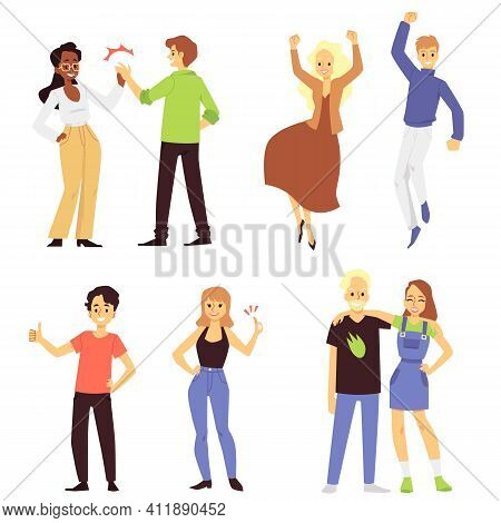 A Set Of Positive, Happy And Joyful People A Flat Vector Isolated Illustrations.