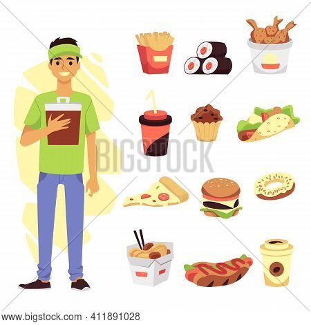 Set With Fast Food Worker And Meals Symbols, Flat Vector Illustration Isolated.
