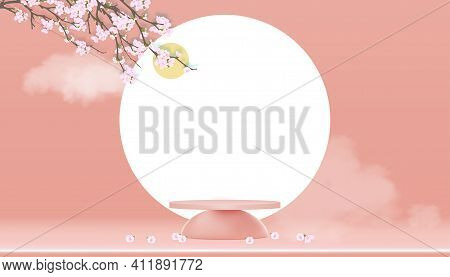 Podium Display With Spring Apple Blossom On Peach Pastel Sky Background,vector 3d Cylinder Stand Wit