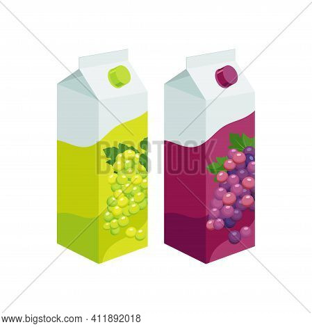 White And Purple Grape Juice Packaging. Grape Product, Vector Illustration Isolated On White Backgro