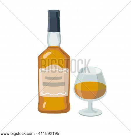 Cognac Bottle And Cognac Glass. Grape Product, Vector Illustration Isolated On White Background.