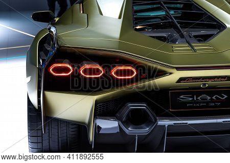 Frankfurt, Germany - Sep 11, 2019: Lamborghini Sian Fkp 37 Sports Car Unveiled At The Frankfurt Iaa